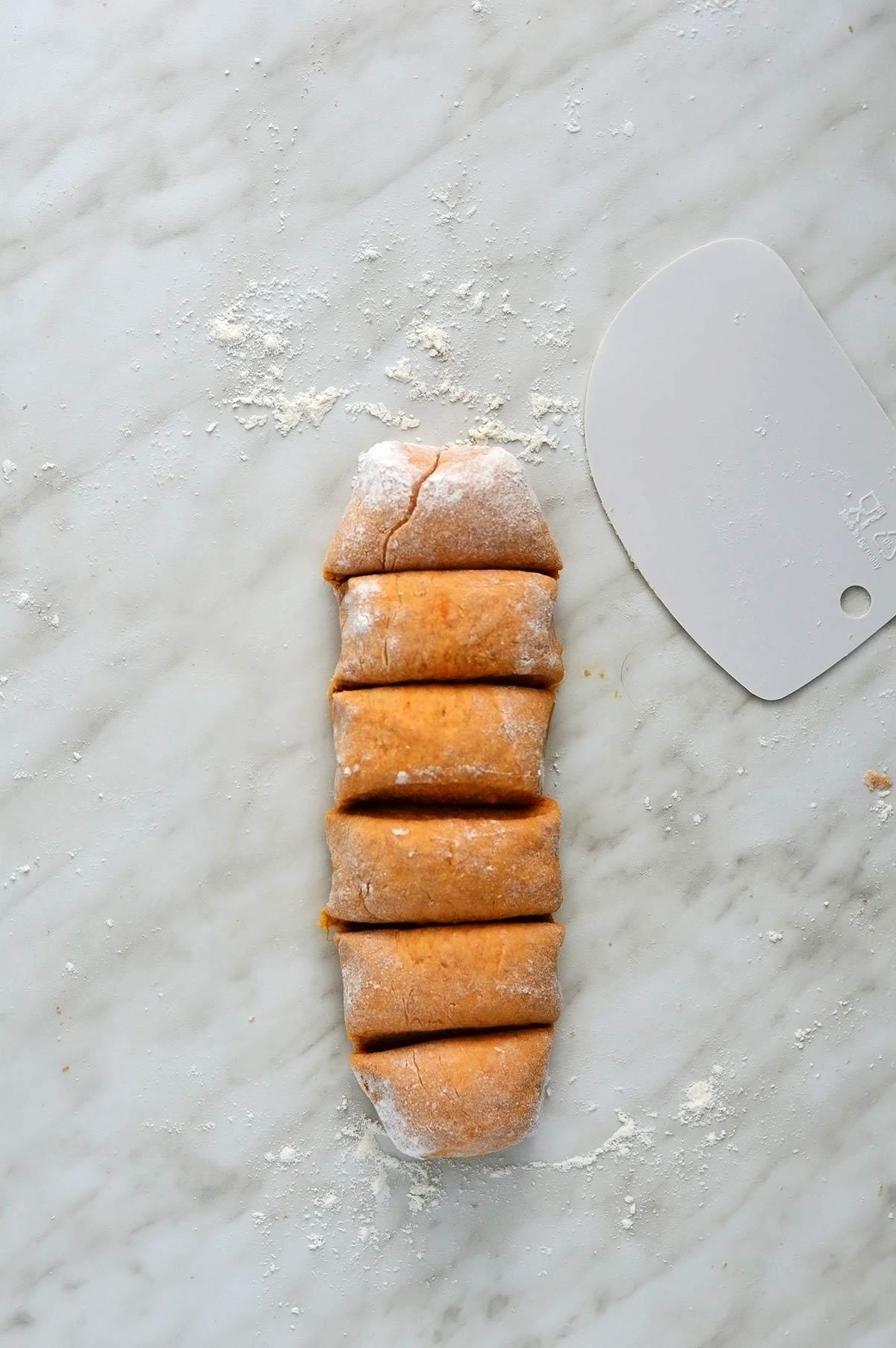 masa de tortillas de boniato en porciones